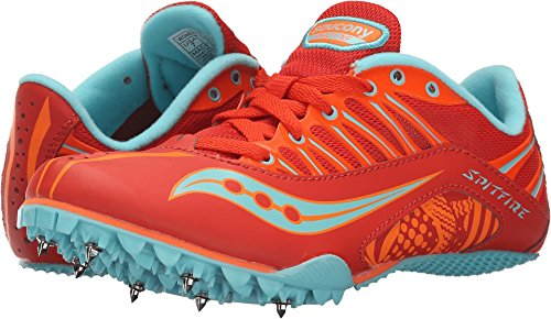 Track Running Spike (Saucony Women's Spitfire Spike Shoe, Red/Orange/Blue, 11 M US)