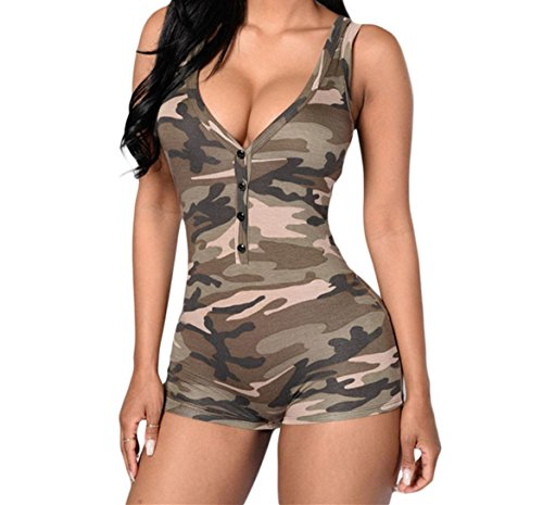 SUBWELL Women V Neck Sleeveless Camouflage Bodycon Tank Jumpsuit Romper Bodysuit (Sexy Camo Outfits)