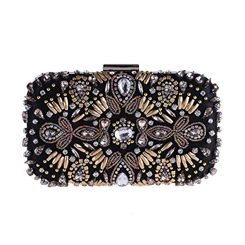 Bag Package Rhinestone Black Embroidered Crossbody Women's Tote Square Dress with Machine Messenger Cheongsam Bag FZHLY Vintage Satchel Shoulder Clutch Evening FppB7w