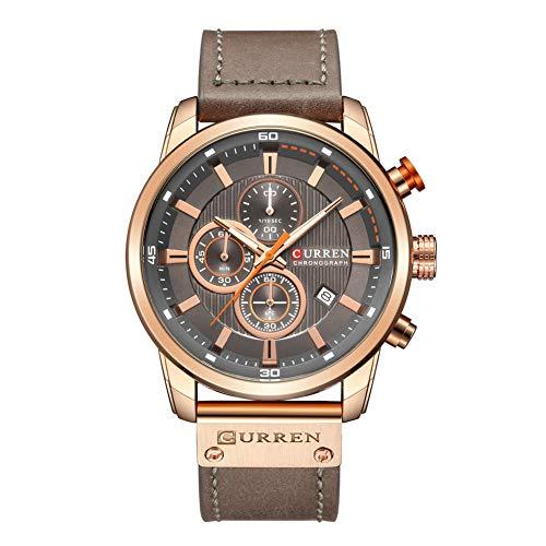 Ocamo Men Fashion Multifunction Quartz Wristwatch Rose Gold dial Gray Band ()