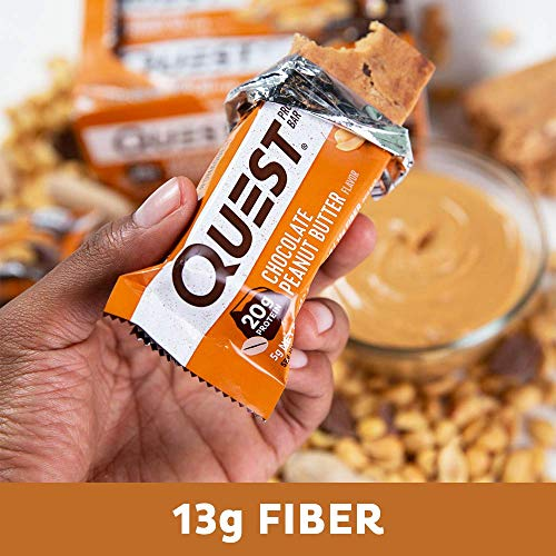 Large Product Image of Quest Nutrition Chocolate Peanut Butter Protein Bar, High Protein, Low Carb, Gluten Free, Soy Free, Keto Friendly, 12 Count