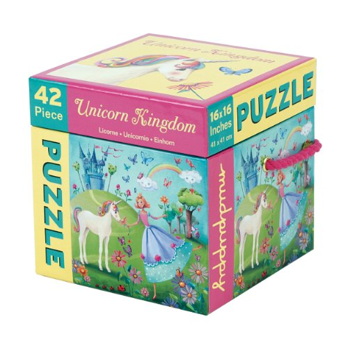 Mudpuppy 42-Piece Unicorn Kingdom Puzzle in Storage Cube – Colorful Unicorn and Princess Artwork Featured for Ages 3+