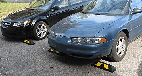 Park-It 4'L x 6'' W x 4'' H Recycled Rubber Car Stop, Black/Yellow in Color with Ground Mounting Stakes