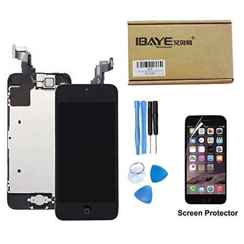 Ibaye LCD Display Touch Screen Digitizer Glass Lens with Camera and Home Button Assembly Repair Replacement for iPhone 5S with Tools Black