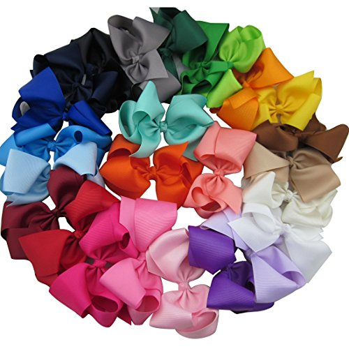 Boutique Accessories (XIMA 25pcs 5inch Grosgrain Boutique Hair Bows with Clip for Children Hair Accessories (with clip mixcolors))