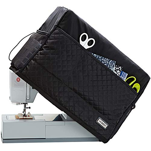 HOMEST Quilted Sewing Machine Dust Cover, Dust Shield with Storage Pockets, Compatible with Most Standard Singer and Brother Machines, Black (Patent Pending)