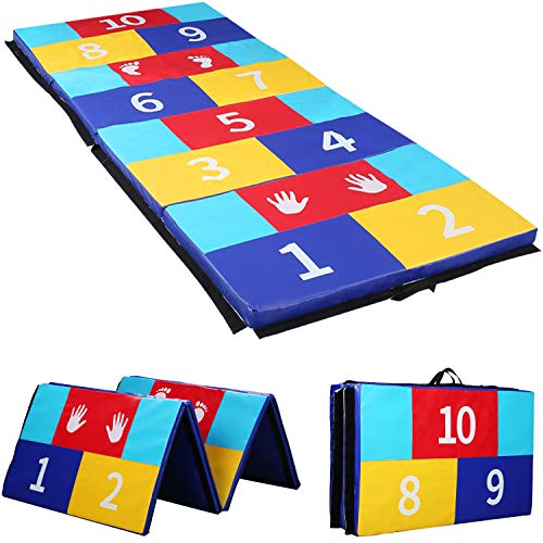 Gymnastics Mat Folding Tumbling Mat Puzzle Play Numbers Exercise Mat for Kids PU Surface