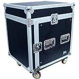 Seismic Audio - SAMRC-10U - 10 Space Rack Case with Slant Mixer Top and Casters - PA/DJ Pro Audio Road Case