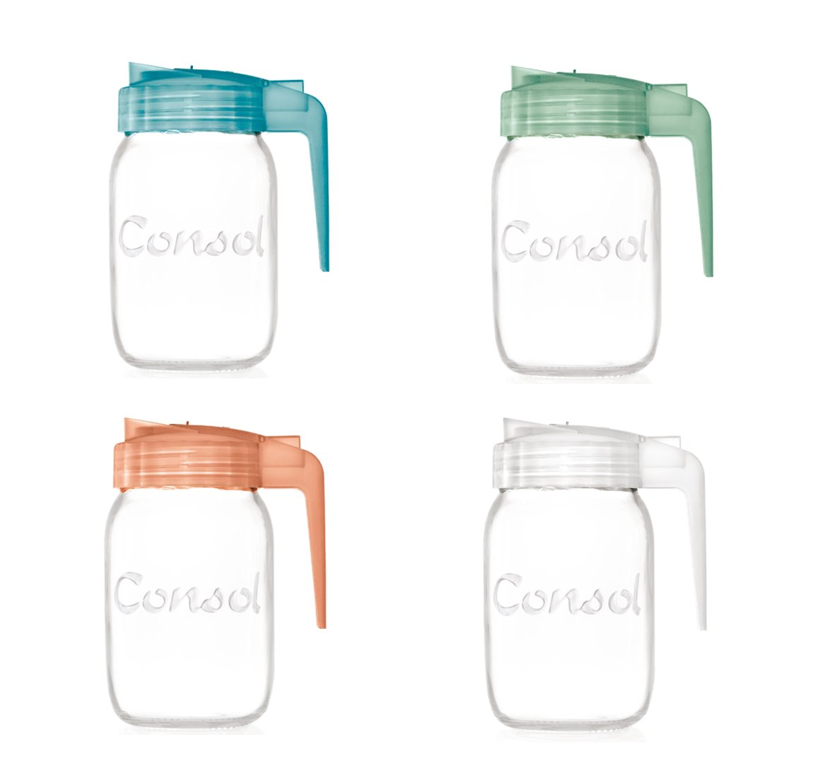 Classic Glass Preserve Mason Jar Fitted With An Easy Pouring Non Drip Angled Spout & BPA-Free Lid Converts it Into A Versatile Jug - By Consol (32oz, Multipack)