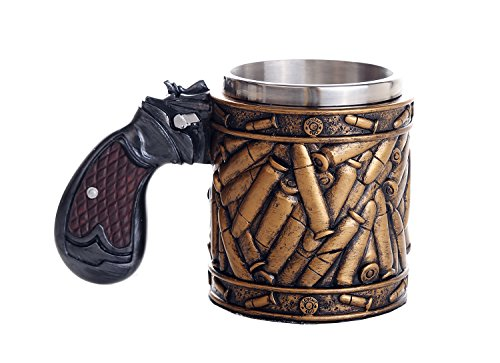 Pacific Giftware Novelty Pistol Handle with Bullet Casings Coffee Mugs Gun Mugs Pistol Cup 11oz
