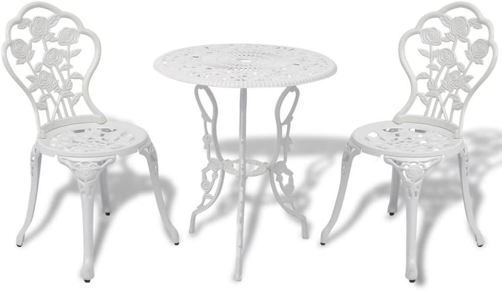 vidaXL Juego de Mesa y Sillas Bistro Jardín Aluminio Blanco Muebles de Patio