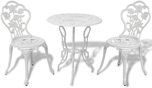vidaXL Juego de Mesa y Sillas Bistro Jardín Aluminio Blanco Muebles de Patio: Amazon.es: Jardín