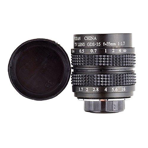 Fujian 35mm f/1.7 CCTV cine lens for M4/3 / MFT Mount Camera & Adapter bundle black Micro 4/3 M4/3 GF3 GF5 E-PL3 E-P3 (Canon 35mm Lens Adapter)