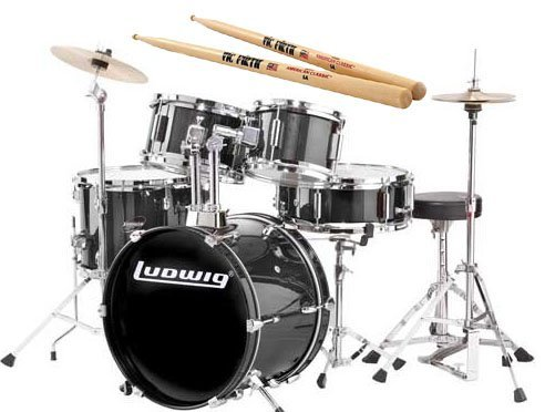 Ludwig Junior Black Drum Set Bundle with Vic Firth American Classic 5A - Crash Cymbals Firth Vic
