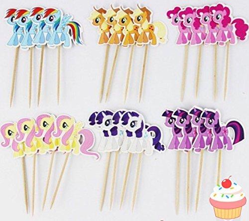 24pcs My Little Pony Cupcake Toppers Picks - cake -