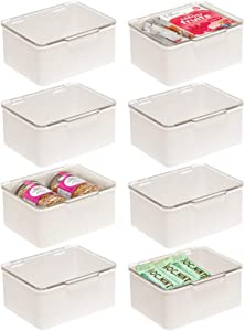 mDesign Plastic Stackable Kitchen Pantry Cabinet/Refrigerator Food Storage Container Box, Attached Lid - Organizer for Coffee, Tea, Packets, Snack Bars - BPA Free, Food Safe - 8 Pack - Cream/Clear