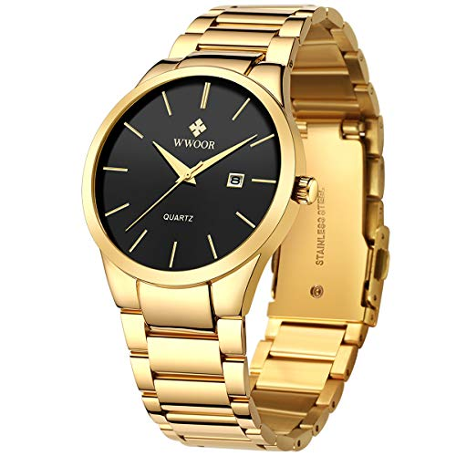 WWOOR Watches for Men Quartz Stainless Steel Metal Black Gold Waterproof Casual Wrist Watch with Date