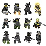 Sunyu Army Minifigures SWAT Team With Military Weapons Accessories, Policeman Soldier Minifigures Toys Building Blocks 100% Compatible, 12 Piece