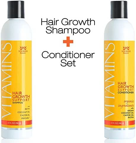 Nourish Beaute Vitamins Shampoo and Conditioner for Hair Loss that Promotes Hair Regrowth, For Men and Women, 1 10 Ounce Bottle of Shampoo and 1 10 Ounce Bottle of Conditioner