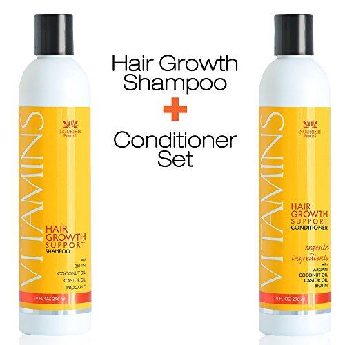 VITAMINS Hair Loss Shampoo and Conditioner w/ Natural Growth Factors, Argan Oil & Biotin - Clinically Tested Treatment for Men and Women, Guaranteed Results Silk Therapy Thickening Shampoo
