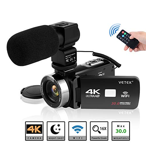 Video Camera Camcorder, VETEK 4K Ultra HD Vlog Camera for YouTube with Microphone, Digital WiFi Camera Recorder with Remote Control, IR Night Vision 3.0 inch Touch Screen 16X Digital Zoom 2 Batteries