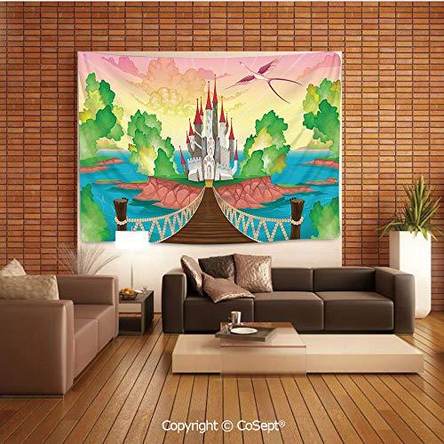 PUTIEN Wall Hanging Tapestry,Princess Castle Above Wooden Bridge and Phoenix Bird Fairy Dream World Girls Image,for Living Room Bedroom Dorm DecorMulticolor