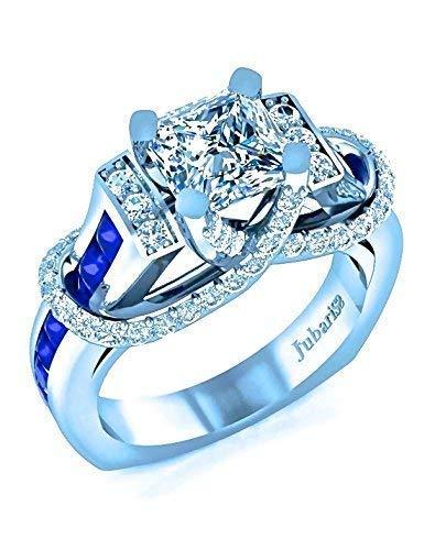 2.75 Ctw Blue Sapphire & Princess Cut Diamond Engagement Ring Contemporary Custom Designer Jubariss 18K White Gold Handmade