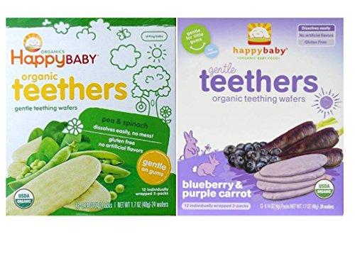 Happy Baby Organic Teethers Gentle Teething Wafers 2 Flavor