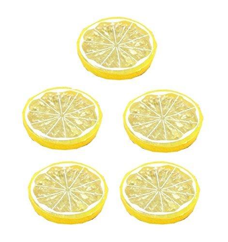 Lemon Slices - Qingsun 5Pcs Artificial Lemon Slice Artificial Fruits Home Decoration Fake Lemon Slice Food Fruit(Yellow)
