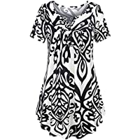 Paymenow Clearance Women Short Sleeve Summer Tops Shirts Casual V Neck Button Ruffled Henley Polo Tunic Blouse (M, White)
