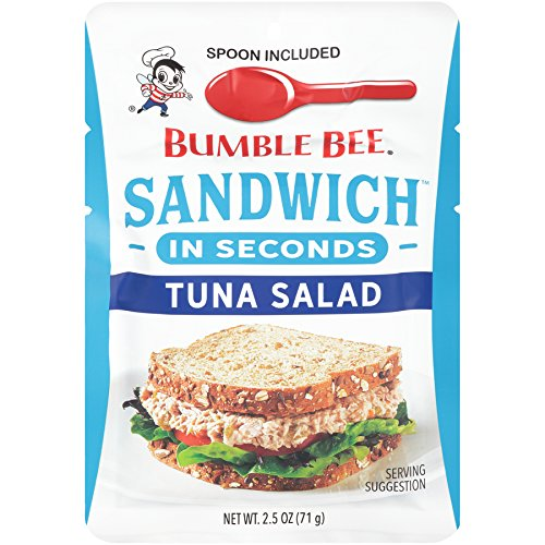 BUMBLE BEE Sandwich in Seconds Tuna Salad, 2.5 Ounce Pouches (Pack of 12), Tuna Salad Pouch Made with Light Tuna, High Protein Snacks, Tuna Fish, Ready to Eat Tuna Pouch, Keto Food ()