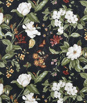 Waverly Garden Images Black Fabric By The Yard