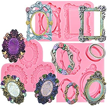 Funshowcase Vintage Frame Collections Silicone Molds, for Sugar Paste, Chocolate, Fondant, Butter, Resin, Polymer Clay, Gum Paste, Wax, 3-in-Set
