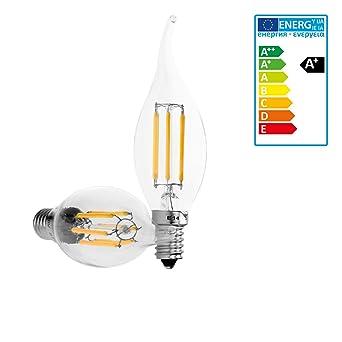 6x E14 LED Lampe Birne Kerze Leuchtmittel Glühlampe Filament 4W Warmweiß 2700K