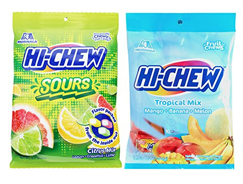 Japanese Morinaga Sours Citrus Mix and Tropical Mix Hi Chew Candy (2 (Tropical Sours)