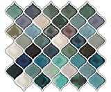 Kyпить HUE DECORATION Turquoise Multi Peel and Stick Arabesque Tile Backsplash, 10