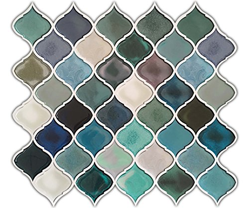 HUE DECORATION Turquoise Multi Peel and Stick Arabesque Tile Backsplash, 10