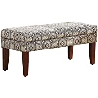 Kinfine Woven Pattern Storage Bench, Black and White Medallion
