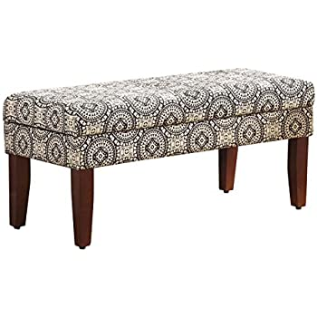 Kinfine Woven Pattern Storage Bench Black and White Medallion  sc 1 st  Amazon.com & Amazon.com: Kinfine Upholstered Storage Bench with Hinged Lid ... islam-shia.org