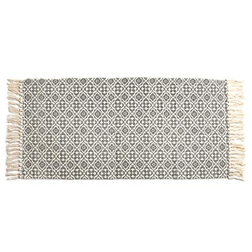 SHACOS Woven Cotton Rug with Tassel Cotton Area Rug Runner 23.6 x 51.2 inch Throw Rug for Bedroom Living Room Laundry Room Entryway Sofa Cover (2'x4'4