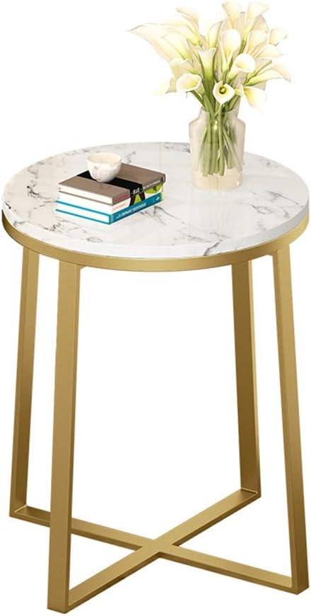 Nieuwe Aankomstmode Bijzettafels Haizh ronde Nordic metaal X-basis moderne marmer salontafel, volledig gemonteerd, 40 × 60 cm wit 366OWbK