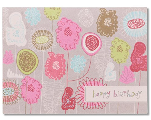 American Greetings Floral Birthday Card Life is Good with Flocking
