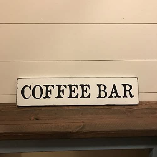 Coffee bar sign coffee sign rustic wood for Bar decor amazon