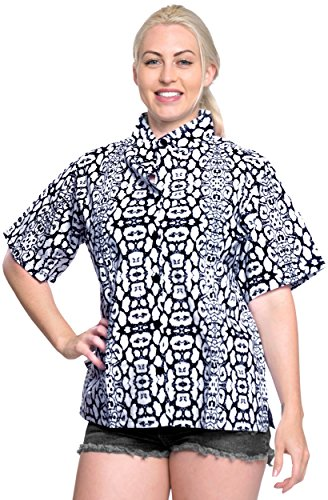 Cotton Point Collar Blouse (La Leela 100% Cotton v Neck Point Collar Camp Luau and Beach Wear For Work For Casual Plus N_Blue L)