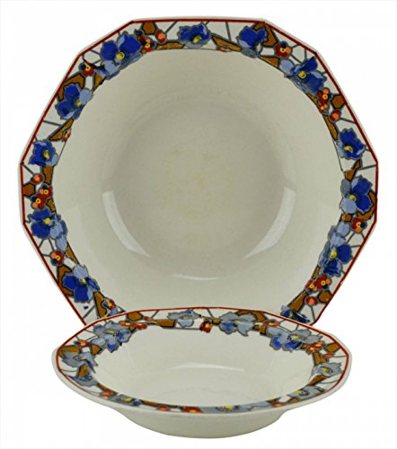 Ceramic Blue Floral BOWL 6.3'' Alfred Meakin Serving Festive Vintage Rice Dinner English 1930s LS