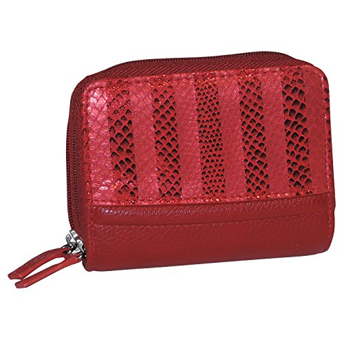 Buxton Womens Accordion Double Zippered Wizard Credit Card ID Holder Travel Wallet (Red Stripe)