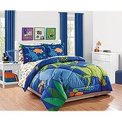 Fancy Collection 7pc Full Comforter Set Dinosaur White Blue Orange Green New