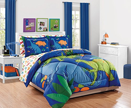 Linen Plus Full Size 7pc Comforter Set for Kids Dinosaur White Orange Blue Red New