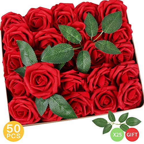 AmyHomie Pack of 50 Real Looking Artificial Roses w/Stem for DIY Wedding Bouquets Centerpieces Arrangements Party Baby Shower Home Decorations -