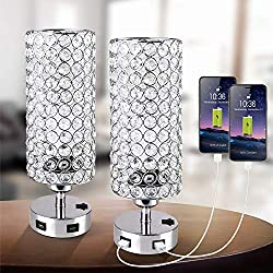 Crystal Table Lamp with Press Switch Nightstand Lamps